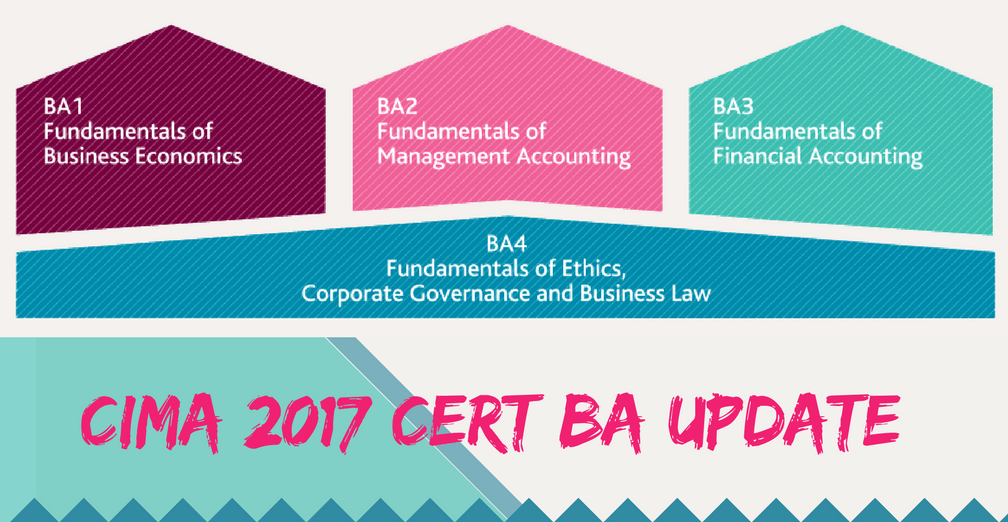 2017 CIMA Certificate in Business Accounting update